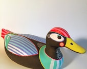 black duck with stripes- original hand painted found object duck painting/sculpture