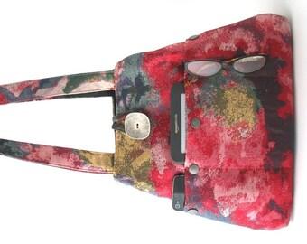 shoulder bag, fabric handbag, Pink purse, tote bag, bag with pockets, hobo bag, shoulder purse, art bag