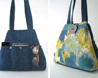shoulder tote ,blue tote ,colorful purse, tote with pockets, shoulder bag , diaper bag, fabric handbag, blue handbag, ready to ship
