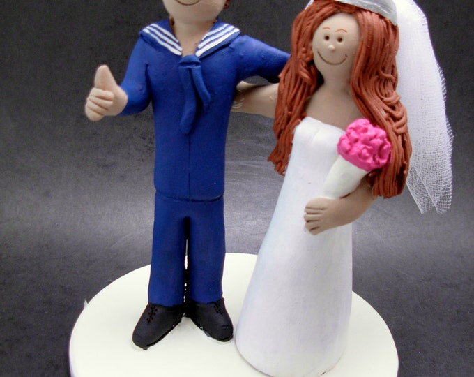 Sailor Groom Wedding Cake Topper, Sailor Wedding Anniversary Gift/Cake Topper, Military Wedding Cake Topper, Wedding Anniversary Cake Topper