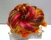 """Fiber art batt, felting wool, spinning fiber, roving, """"Beverly's Fire"""" , Red, Yellow, Gold, Cranberry, Violet, Green"""
