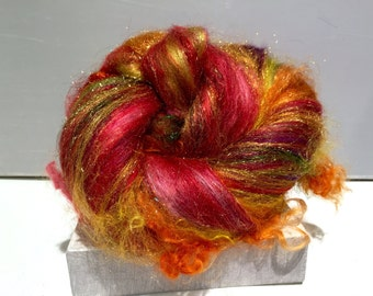 "Fiber art batt, felting wool, spinning fiber, roving, ""Beverly's Fire"" , Red, Yellow, Gold, Cranberry, Violet, Green"