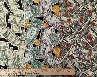 MONEY Fabric - Retired Robert Kaufman Currency Penny Dollar Bills Coins I Spy Quilts
