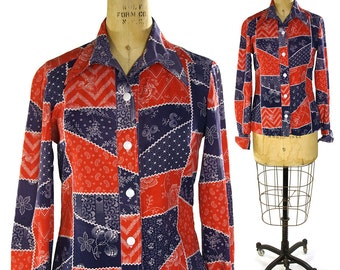 70s Cotton Hippie Shirt / Vintage Handmade Pointy Collar Button Up Shirt / Patriotic Red White Blue Cheater Quilt Novelty Print Top