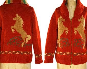 Cowichan Sweater / Vintage 1960s Horse Cardigan Blanket Sweater / Wool Knit Bohemian / Boho / Hippie Sweater Coat