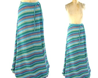 70s Cotton Gauze Wrap Around Skirt / Vintage 1970s Boho Hippie Maxi Skirt with Stripe Pattern / Bohemian Ethnic Indian Cotton Floor Length