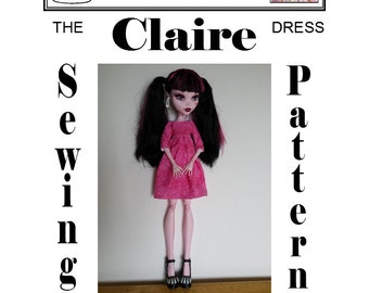 "17"" MONSTER HIGH (Large) Sewing Pattern ""Claire"" Dress PDF Download by Dolly Delicacies"