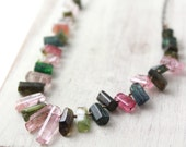 RESERVED - Rainbow Tourmaline Crystal Collar Necklace