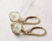 Green Amethyst Gold Wrapped Earrings