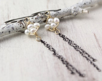 Gold Wrapped Pearl and Oxidized Silver Chain Dangle Earrings