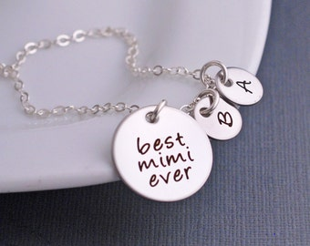 Custom Gift for Mimi, Silver Best Mimi Ever Necklace with Personalized Charms, Christmas Gift for Mimi, Mimi Birthday Gift