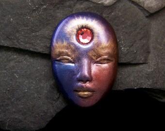 Crystal Sun Goddess Face Cabochon Metallic Polymer Clay handmade OOAK Cab