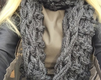 """Infinty Scarf, Extra Long Chunky,  Hand Knit  - """"Charcoal Gray"""""""