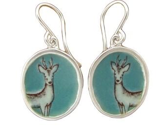 Deer Earrings - Sterling Silver and Vitreous Enamel  Stag Earrings
