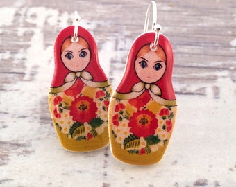 Red Green Matryoshka Russian Doll Resin Earrings