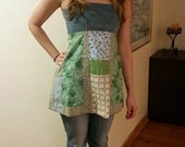 Hippie Patchwork Open-Backed Corduroy Bodice Calico Apron Top ~ Small