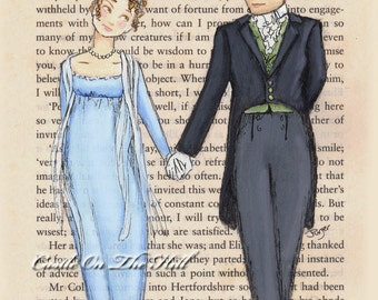 Pride and Prejudice Jane Austen Print - Elizabeth Bennet & Mr Darcy - 5 x 7 print