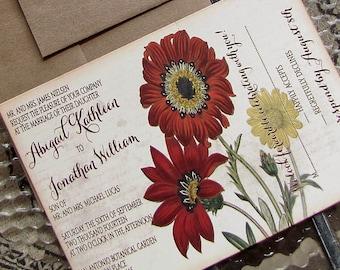 fall floral wedding invitation - autumn wedding invitations - botanical invite - garden wedding - fall flowers - autumn flowers -  rustic