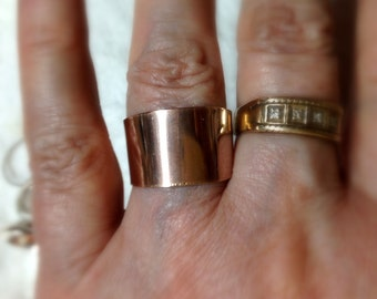 """WIDE Rose Gold ring Simple Sexy Unisex adjustable  14k rose gold filled - made in USA by me -about 1/2"""" 12mm wide tapers to 9mm"""