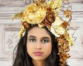 Woodland Goddess Headpiece, Brown, Ivory and Gold, Floral Headdress, Fairy Headpiece, Elven Headdress, Floral Crown, Flower Crown, Autumn