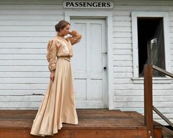 "Victorian Wool Trained Skirt 24"" Waist"