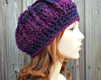 Purple Beret Purple Womens Hat - Spring Monarch Beret Grape Jelly Purple Crochet Hat - Purple Hat Womens Accessories