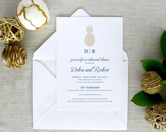 Pineapple Rehearsal Dinner Invitations, Pineapple Rehearsal Dinner Invitations, Hawaiian Rehearsal Dinner Invitations
