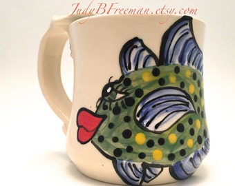 Ceramic Mug Coffee Cup with Hand Painted Stoneware Fish Bluefin Trevaly Ready to Ship 14 Ounces Wheel Thrown MG0014
