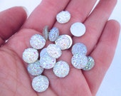 10 Iridescent Clear 10mm Resin Druzy Cabochons, E168