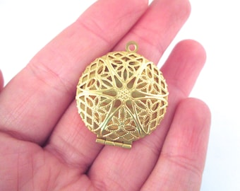 27mm round filigree lockets, raw brass plated, Pick your amount, D8