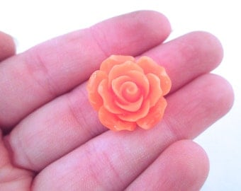 10 Dark Orange Rose Cabochons 20mm
