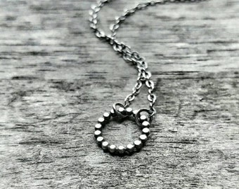 Small Circle Necklace - Sterling Silver Circle Necklace - Small Circle Pendant - Everyday Necklace - Minimalist Silver Necklace - Dotted