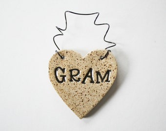 Gram Ornament - ceramic clay - heart shaped - personalized, handmade, ready to mail
