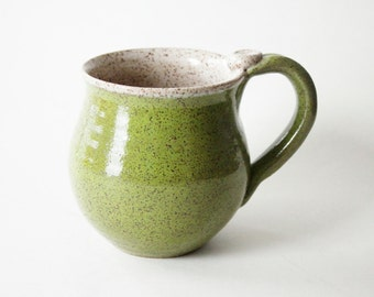 Speckled Chartreuse Green Mug - 14 oz  Coffee Cup - Ready to Ship Ceramic Cup