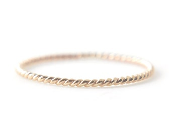 Gold twist ring - delicate stacking ring - dainty ring - delicate jewelry - textured ring - 14k gold filled everyday ring / Vera 1mm