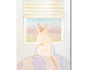 Flame Point Siamese ORIGINAL painting cat at the window Bright Sunny Day cat folk art acrylic painting artwork by Tascha