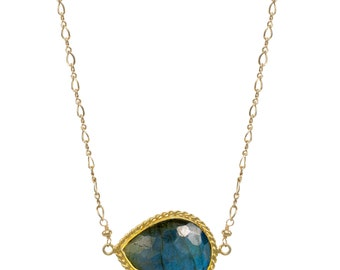 Double Bezeled Labradorite Pendant Necklace on 14k GF Chain