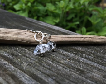 Herkimer Diamonds Genuine Crystal Gemstone Sterling Silver Dangle Earrings Quartz Double Terminated Clear Naturally Faceted
