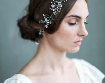 Bridal headpiece - Delicate opal blossoms hair vine - Style 701 - Made to Order