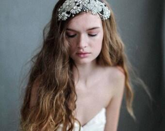 Bridal headband - Crystal dreams floral headband - Style 732 - Made to Order