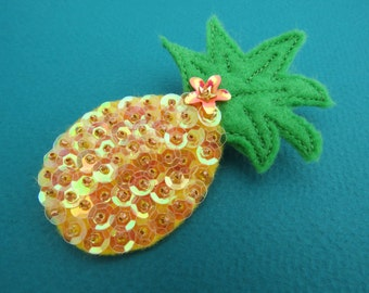 Sequin Pineapple Brooch - Pineapple Pin - Tropical Fruit - Novelty Pin - Pineapple Jewelry
