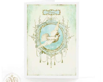 Dove of peace card, with hope, Christmas card, all occasion card, blank inside