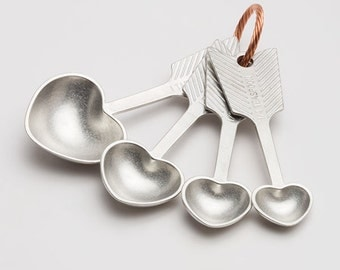heart measuring spoons - hand cast pewter