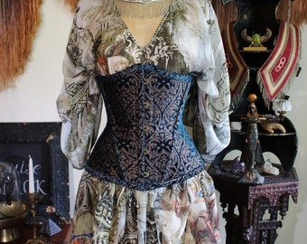 Very Limited Edition Moroccan Sapphire Blue and Metallic Damask Silk Velvet Gypsy Corset Cincher by Louise Black Custom Made to your Size