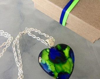 LOVE HAWKS Glass Heart Pendant Seattle Seahawks Inspired Ink Art  OOAK Necklace Jewelry  Fan 35mm A010