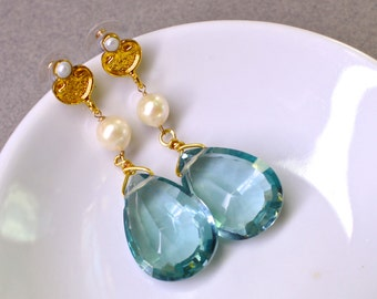 Exceptional, Very Rare Blue Green Topaz, FW Pearl Large Focal Earrings in Gold...
