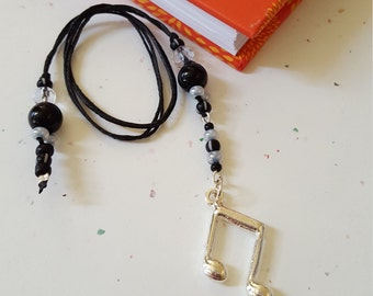 Beaded Bookmark Music Note/ Black And Gray Glass Beaded Cord With Metal Charm/ Handmade Book Thong/ Journal Marker/ Gift For Readers