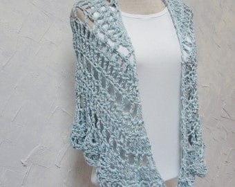 Shawl Wrap Crochet Hand Made Cotton Shawl Crocheted Lace Shawl or Wrap