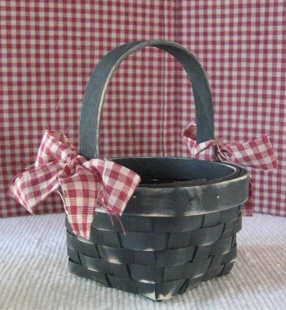 Small Primitive  Round Black Basket