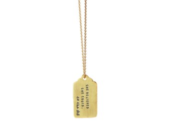 large tag inspired necklace | CORE MESSAGES